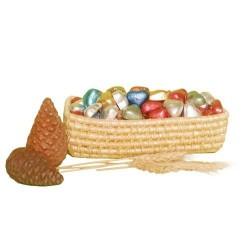 سبد چند منظوره طلایی (شکلات، کارد و چنگال، تی بگ، بیسکویت)