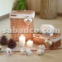 ست سطل و جادستمال کاغذی (طرح چوب و حصیر)